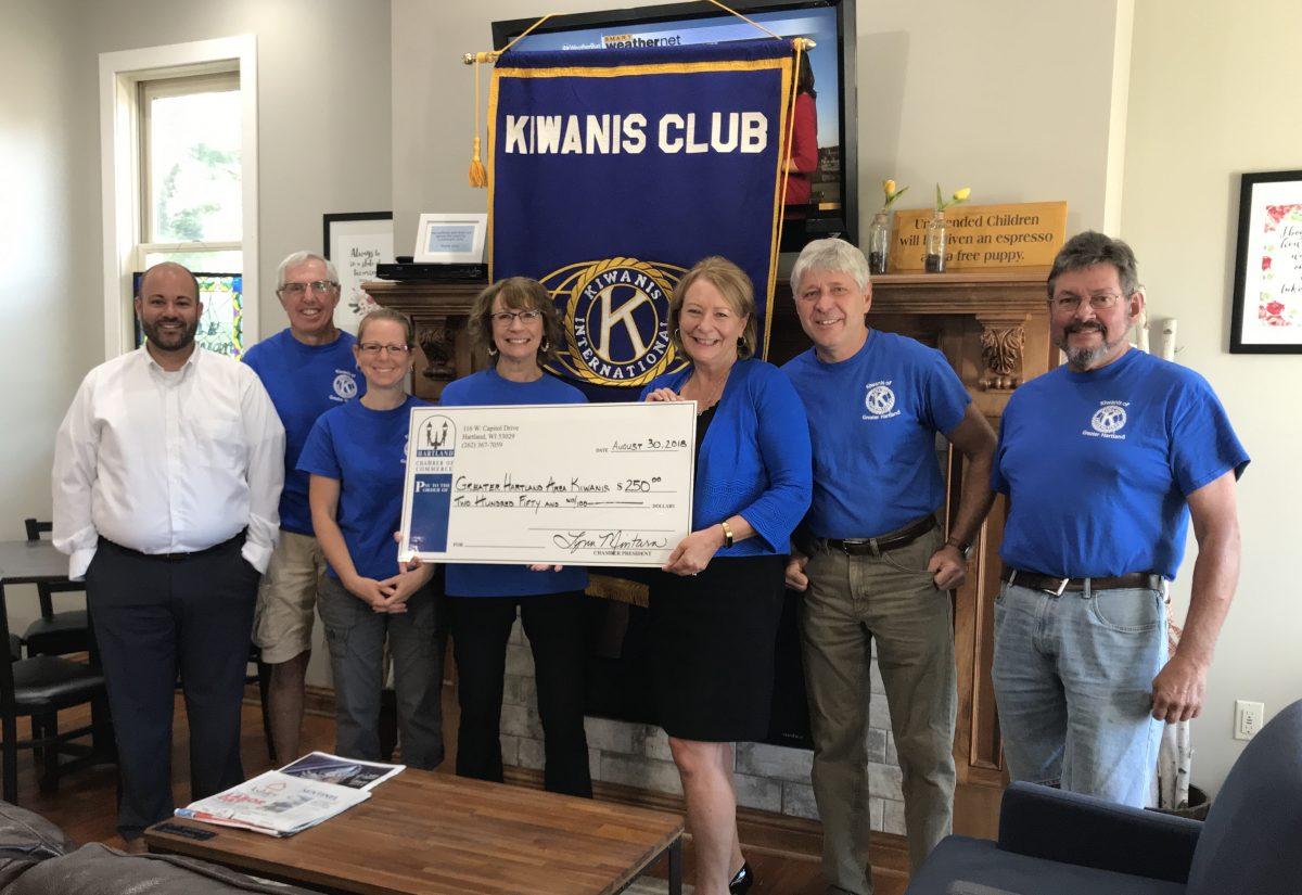 HARTLAND CHAMBER DONATES TO THE KIWANIS CLUB OF GREATER HARTLAND!